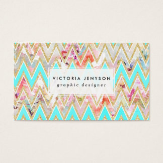 Chic floral watercolor gold chevron pastel teal business card