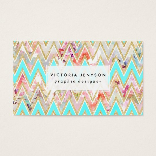 Chic floral watercolor gold chevron pastel teal business