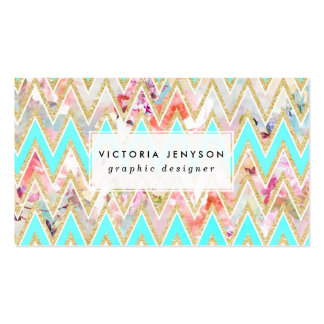 Chic floral watercolor gold chevron pastel teal pack of standard business cards