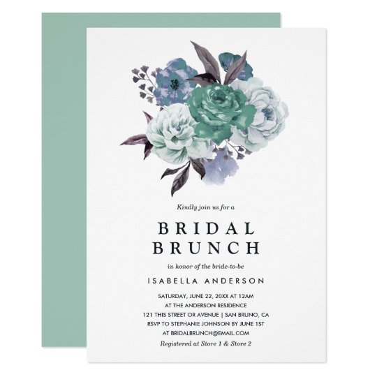 Chic Floral Watercolor Spring Bridal Shower Brunch Card