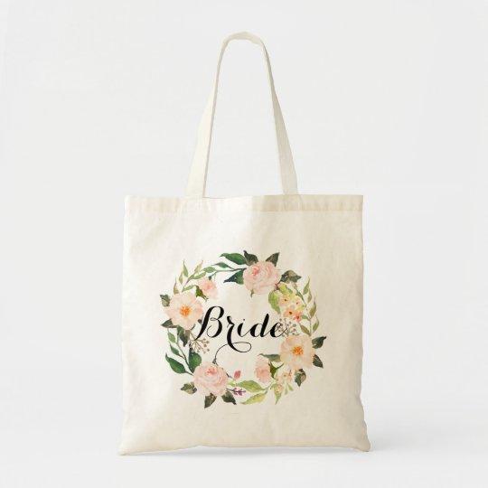 Chic Floral Wreath Bride-2 Tote Bag