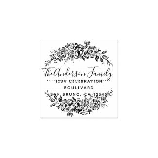 Chic Floral Wreath | Custom Script Return Address Rubber Stamp