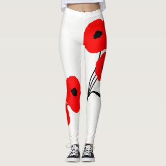 """CHIC """"Flower Power"""" LEGGINGS_01 RED POPPIES Leggings"""