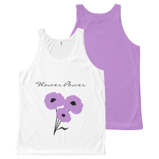 """CHIC """"FLOWER POWER"""" TOP_MOD LAVENDER POPPIES All-Over PRINT TANK TOP"""