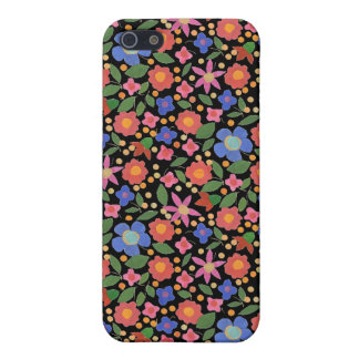 Chic Folk Art Style Floral on Black iPhone 5c Case
