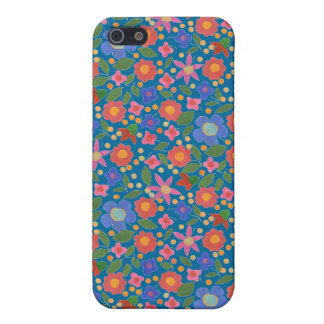 Chic Folk Art Style Floral on Blue iPhone 5c Case