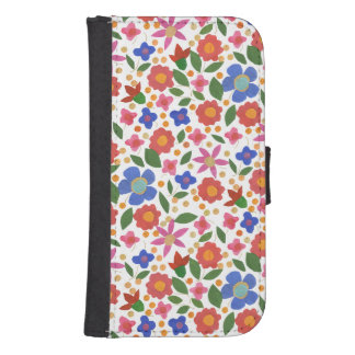 Chic Folk Art Style Floral on White Wallet Case