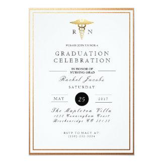 Chic & Formal Nursing Graduate | Gold Foil Invite