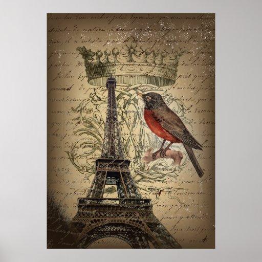 Chic French Bird Modern Vintage Paris Eiffel tower