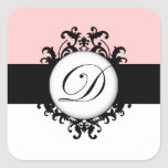 Chic French Black Monograms Damask Wedding Labels Square Sticker