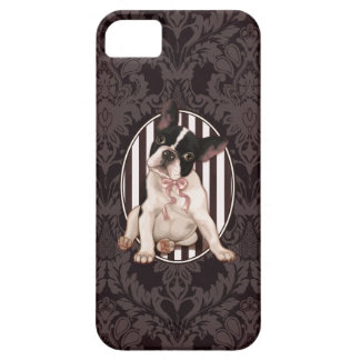Chic french bulldog and black damask case for the iPhone 5
