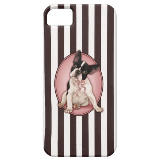 Chic french bulldog and classic stripes barely there iPhone 5 case