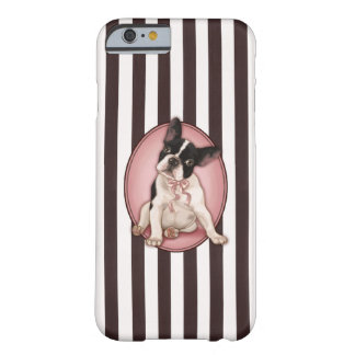 Chic french bulldog and classic stripes barely there iPhone 6 case