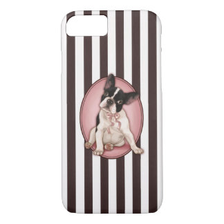 Chic french bulldog and classic stripes iPhone 7 case