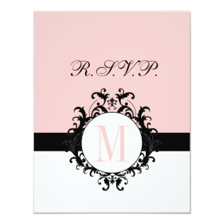 "Chic French Damask Monogram Wedding RSVP Card 4.25"" X 5.5"" Invitation Card"