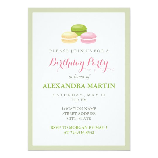 Chic french macaron birthday party invitation zazzle chic french macaron birthday party invitation stopboris Choice Image