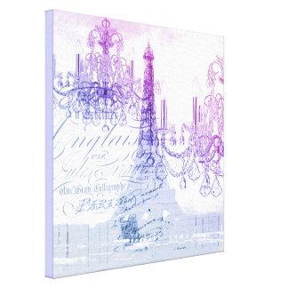 chic french purple chandelier paris eiffel tower canvas print