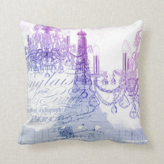 chic french purple chandelier paris eiffel tower cushion