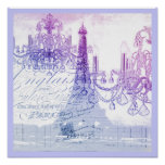 chic french purple chandelier paris eiffel tower poster