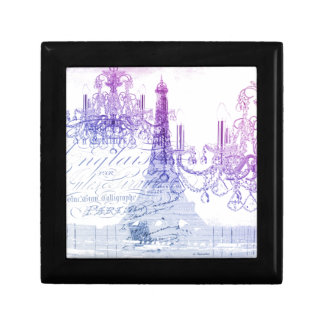 chic french purple chandelier paris eiffel tower small square gift box