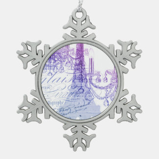 chic french purple chandelier paris eiffel tower snowflake pewter christmas ornament