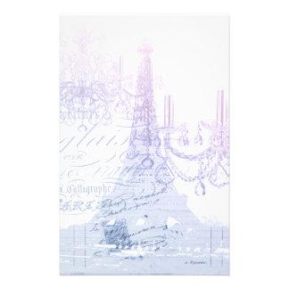 chic french purple chandelier paris eiffel tower stationery