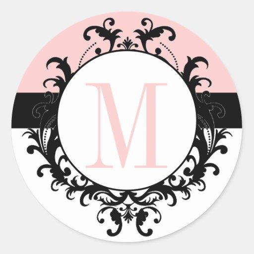Chic French Wedding Monogram M Damask Pink Label Round Sticker