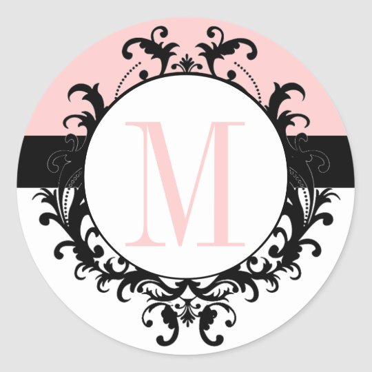 Chic French Wedding Monogram M Damask Pink Label Round Sticker