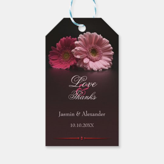 Chic Fuchsia Floral Wedding Thank You Gift Tag