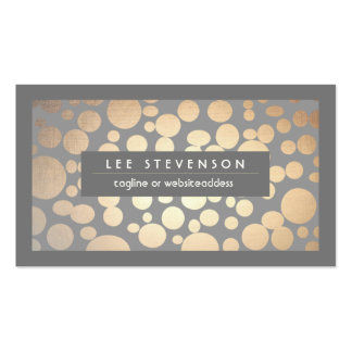Chic Fun Gold Circles Gray Trendy Designer Pack Of Standard Business Cards
