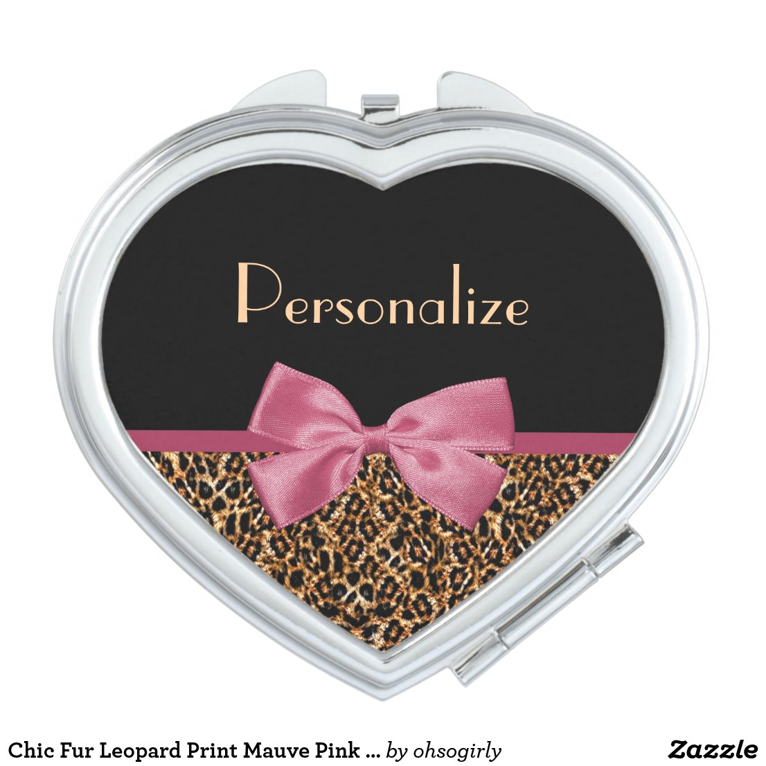 Chic Fur Leopard Print Mauve Pink Bow and Name