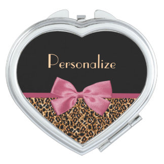 Chic Fur Leopard Print Mauve Pink Bow and Name Compact Mirrors