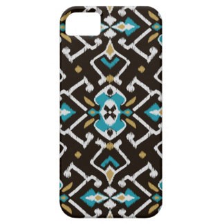 Chic geometric black teal ikat tribal pattern iPhone 5 cases