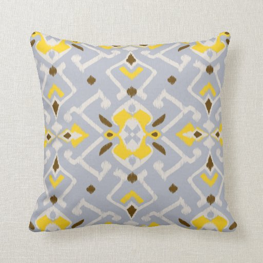 Chic geometric grey yellow ikat tribal pattern throw pillow