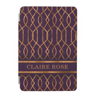 Chic Geometric Purple Gold Lattice Pattern iPad Mini Cover