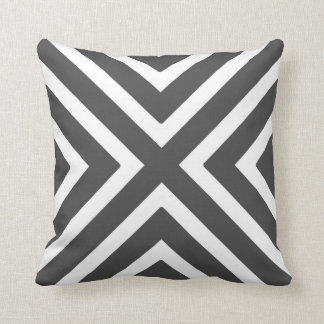 Chic Geometric Stripes in Charcoal Grey and White Cushion