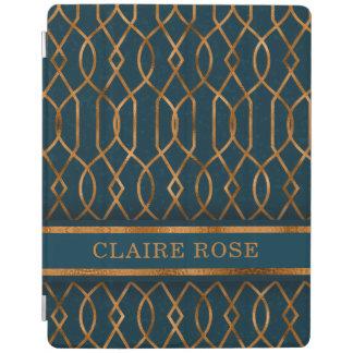 Chic Geometric Teal Gold Lattice Pattern iPad Cover