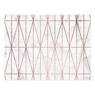 Chic geometric triangles rose gold white marble postcard