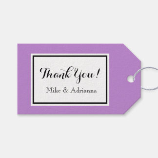 """CHIC GIFT TAG_""""Thank You!"""" MODERN  WHITE/LAVENDER"""