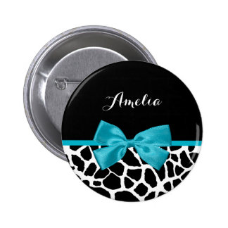 Chic Giraffe Print Aqua Blue Ribbon Bow With Name 6 Cm Round Badge