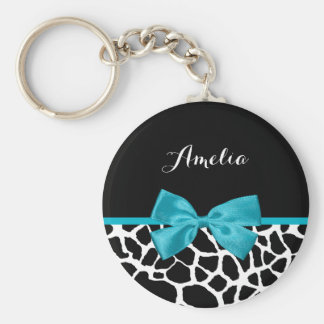 Chic Giraffe Print Aqua Blue Ribbon Bow With Name Basic Round Button Key Ring