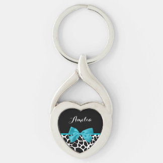 Chic Giraffe Print Aqua Blue Ribbon Bow With Name Silver-Colored Twisted Heart Key Ring