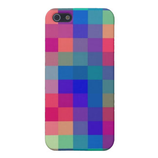 Chic Girlie Pink Purple Blue Check Pattern iPhone 5 Case