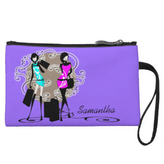 Chic girls glamour shopping purple wristlet clutch