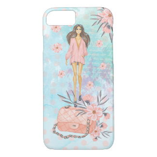 Chic Girly Blue Fashion Girl iPhone iPhone 8/7 Case