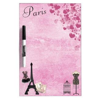 Chic Girly Pink Paris Fashion Dry Erase Board