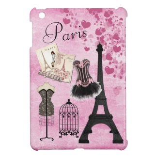 Chic Girly Pink Paris Fashion iPad Mini Case