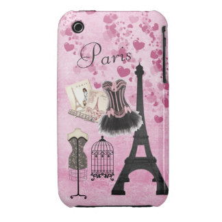 Chic Girly Pink Paris Fashion iPhone 3 Case-Mate Cases