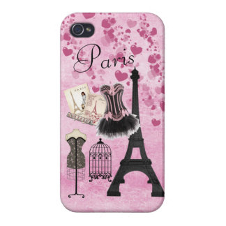 Chic Girly Pink Paris Fashion iPhone 4 Covers