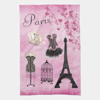 Chic Girly Pink Paris Fashion Kitchen Towel